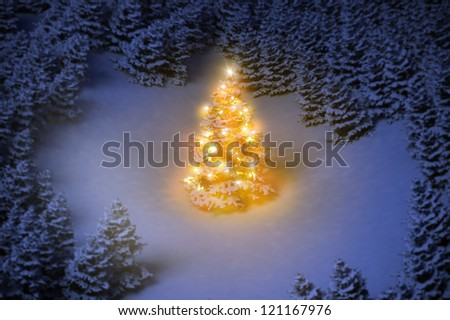 Luminous, decorated Christmas tree in snowy woods 3D