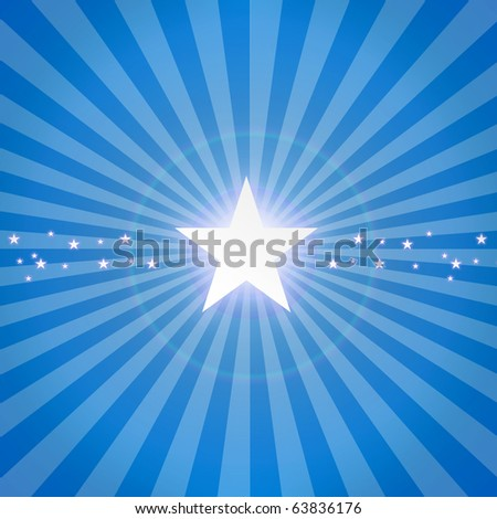 Luminous star on blue dynamic background. Illustration