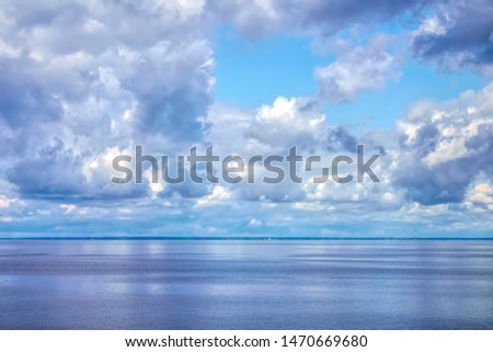 Luminous water and sky along Pamlico Sound off the coast of North Carolina, USA, on a spring morning #1470669680