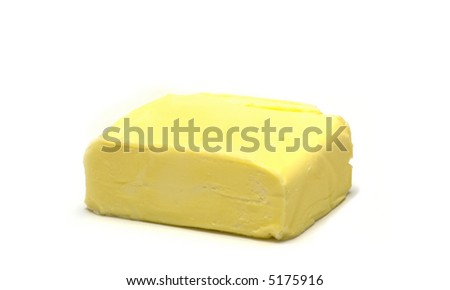 lump butter on white background