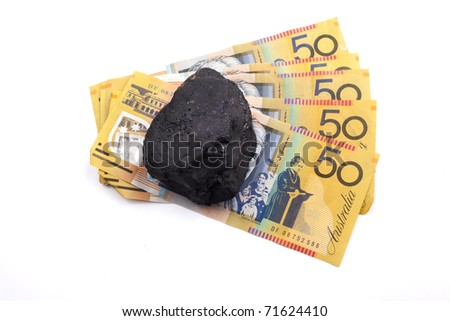 lump of coal and money concept for coal revenue australia