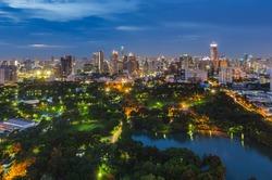Lumpini Park in Bangkok at night
