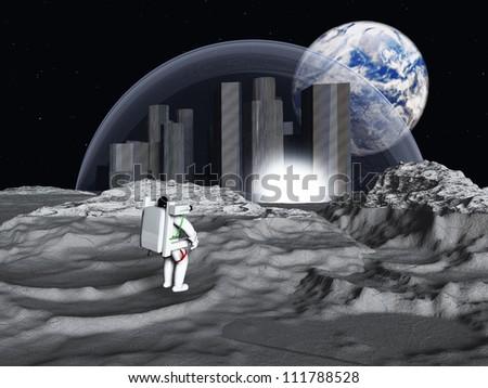 Lunar city earth rise