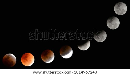 lunar eclipse sequence including total eclipse blue blood moon in dark night