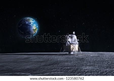 Lunar lander - CG render of the original Apollo mission space craft.