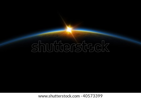Lunar sunrise/sunset of a planet from space. Digital generation.