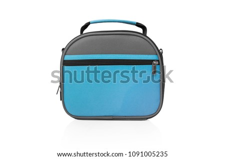 Lunch bag isolated on white background. Convenient for office, school, university or travel.