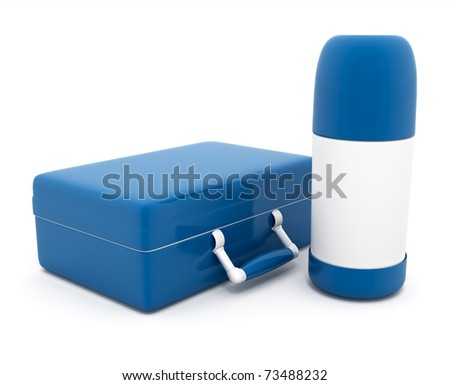 lunch box and thermos 3d-illustration isolated on white background