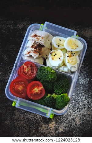Lunch boxes with a healthy meal. Fitness snack to go.