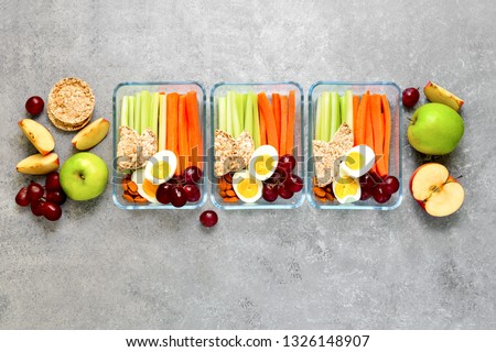 Lunch boxes with healthy snacks, healthy food concept, view from above, blank space for a text Сток-фото ©