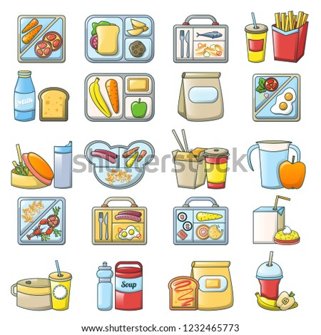 Lunch break lunch food icons set. Cartoon illustration of 16 lunch break lunch food icons for web