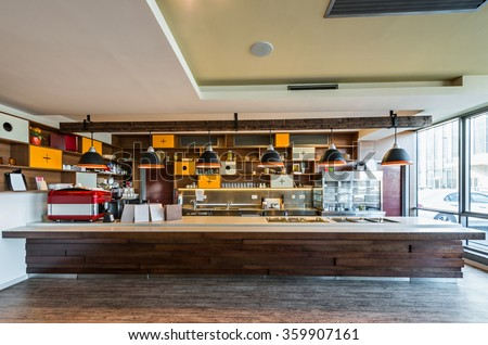 Lunch counter at modern restaurant