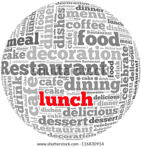 Lunch info-text graphics and arrangement concept on white background (word cloud)