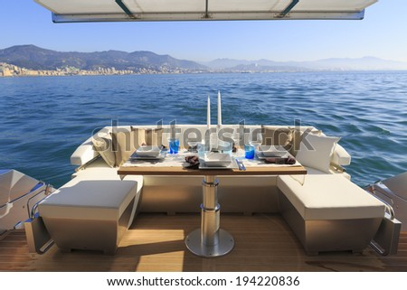 lunch on motor yacht, Table setting at a luxury yacht.