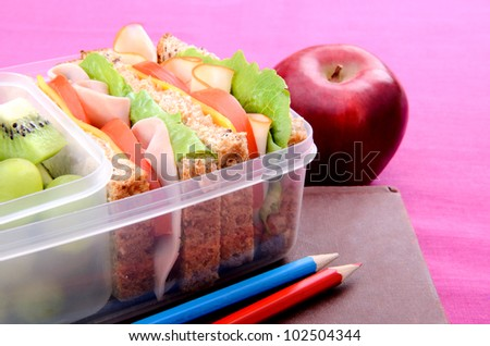 Lunchbox with book and apple on pink background