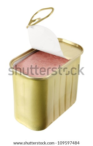 Luncheon Meat on White Background