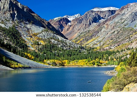 Lundy Lake and Lundy Canyon with Fall Colors, Eastern Sierra, California