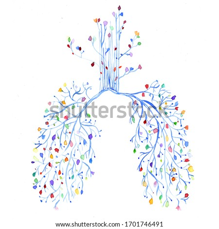 Lungs and flower clipart. Lungs anatomy, Bronchial tree watercolor, Bronchi and trachea, Respiratory system, Doctor gift, Clinic wall decor, Science art, Medicine art