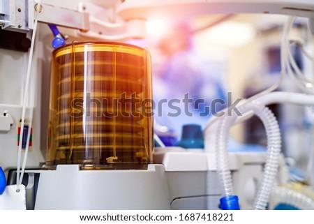 Lungs ventilation with oxygen. COVID-19 and coronavirus identification. Pneumonia diagnosting. Pandemic. Stockfoto ©