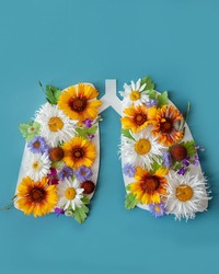 lungs with flowers and leaves on a blue background. world tuberculosis day, world no tobacco day, lung cancer, Pulmonary hypertension, Pneumonia, copd, eco air pollution, organ donation, respiratory