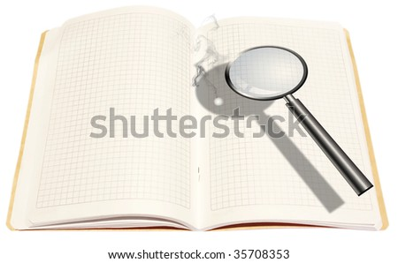 Lupe burn white open book. isolated illustration