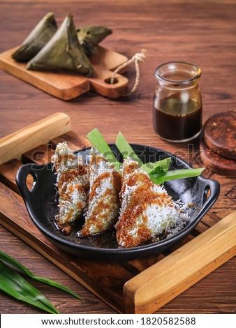 Lupis with Brown Sugar Sauce ala Indonesia Zdjęcia stock ©