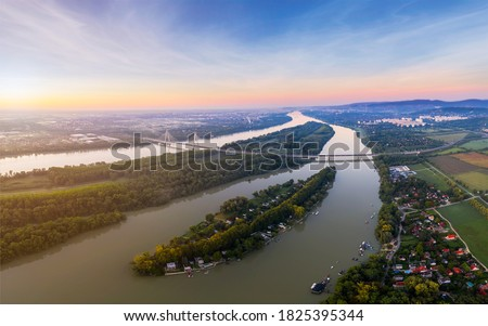 Luppa island on Danube river near by Budapest hungary.  Amazing panoramic landscape in the morning time. Сток-фото ©