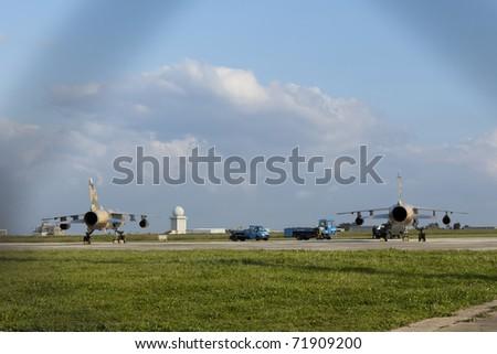 stock photo : LUQA, MALTA - FEB 22 : Libyan Air Force Mirage jet fighters