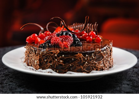 Luscious Chocolate Cake With Fresh Berries Stock Photo 105921932 ...