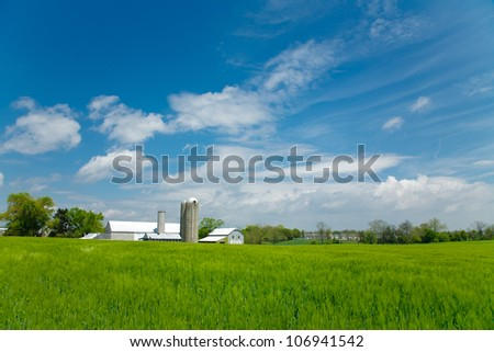 Lush green field with farm buildings in background