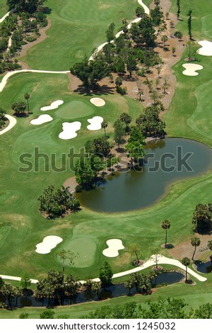 Lush green Florida Golf Course Aerial view