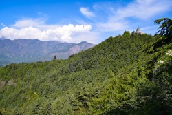 Lush green forest. Hindu temple on the top of hill.The temple is at a height of 1,000 feet above the plain and overlooks the city ofSrinagar. Shankaracharya temple is hindu temple.