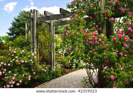 Lush green garden with stone landscaping, flowers, and arbor #42359023