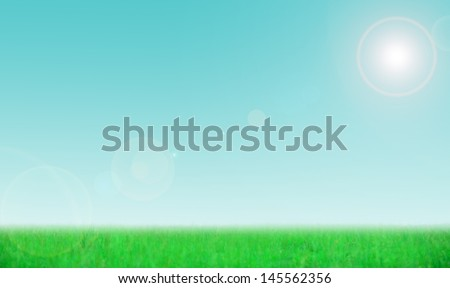 Lush green grass and clear blue sky with a lens flare for a relaxing background