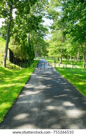 Lush green path in the ranch in Tomakomai city, Hokkaido, Japan. - Shutterstock ID 755266510