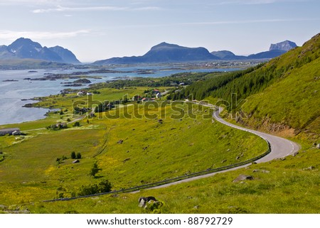 Lush green scenery on Lofoten islands, Norway