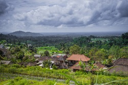 Lush green 'Tabanan Village' seen from the hill, beautiful calm and peaceful. Bali-Indonesia