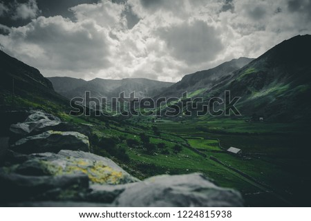 Lush grey & green mountains Moody skies Moody background Moody sky Mountain clouds View nature landscape Mountains-view Snowdonia Snowden Wales