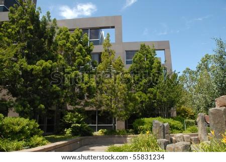Lush Landscaped Office Park Rock Garden