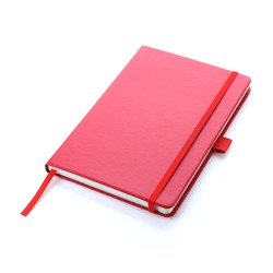 Lush lava red colour leather fabric hardcover notebook with elastic band lay back on white surface. Top view with notebook closed. Isolated on white background. For mockup, branding & advertising.