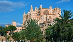 Lush palm trees and Cathedral of Palma de Mallorca against blue sky, building was built on a cliff rising out of the sea. Palma de Majorca, Balearic Islands, Spain