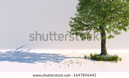 Lush tree with falling leaves against a clean and minimal background created in 3D, 3D artwork, 3D rendering, 3D illustration