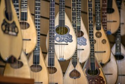 Lutes, Typical greek instrument, in a store in Athens, Greece