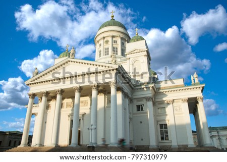 Lutheran cathedral in the Old Town of Helsinki, Finland #797310979