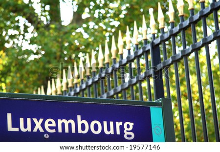 luxembourg bus stop sign with the luxembourg garden grille in the background paris france. Black Bedroom Furniture Sets. Home Design Ideas