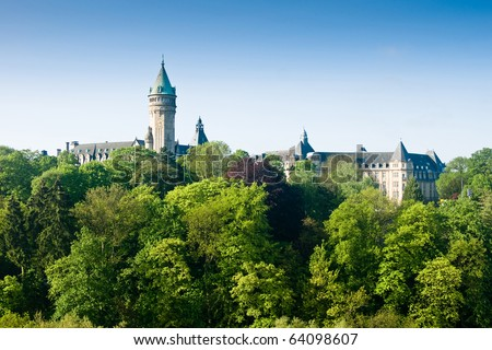 Luxembourg castle and green trees in spring