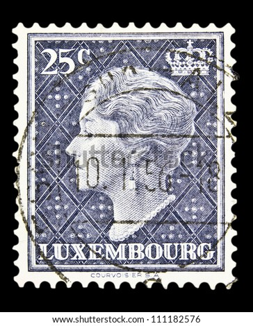 "LUXEMBOURG - CIRCA 1948: A stamp printed in Luxembourg shows portrait of Grand Duchess of Luxembourg Charlotte, without inscription, from the series ""Grand Duchess of Luxembourg Charlotte"", circa 1948"