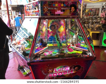 Luxembourg City, Luxembourg - August 24, 2018: gaming machines at a funfair #1166284195