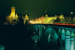 Luxembourg city pont adolphe night view
