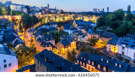 Luxembourg City sunset top view in Luxembourg Panorama #626456075